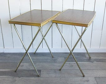 Two Mid Century TV Trays with Faux Woodgrain & Gold-tone Ribbed sides