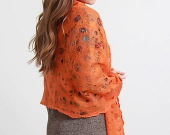 Felt Orange muffins cobweb felt shawl, light thin felt shawl, felted  cobweb shawl, all season scarf, Doseth handmade in Lithuania Europe