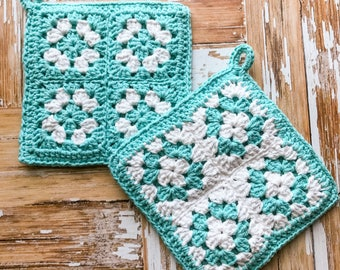 Pot Holder | Blue Pot Holder | crochet pot holder | kitchen pot holder | hot pad | kitchen decor