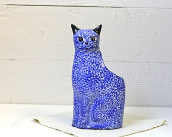 Cobalt blue ceramic Kitty Vase