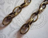 Antiqued Brass Oval Rolo Chain 6X10mm Smooth Links - 48 inches
