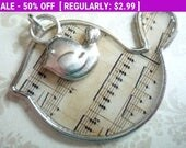 50% OFF Clearance SALE Musical Notes Bird Pendant with Mini Birdie Charm Qty 1