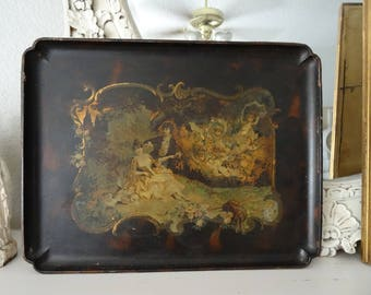 Vintage Victorian French Romantic Scene Tray Shabby Cottage Chic