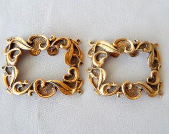Vintage Musi Shoe Clips, Goldtone Metal, Very Pretty, Ornate