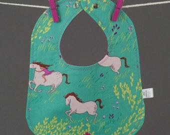 Wee Wander Horses Baby Bib, Baby Snap Bib, Cotton Snap Bib, Girl Baby Gift, Pink Baby Gift, Baby Gift under 15, Girly Baby Gift