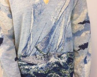 Vintage 1970's Blue Sailboat Graphic Sweater // Unisex Ocean Theme Sweater// Ladies L Mens M