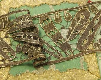 "French Antique metal lace trim deep gold 5"" wide sparkling passementerie flapper ribbonwork trim France  flapper  dolls france"