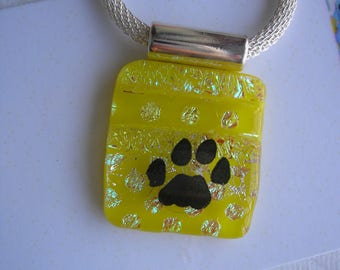 """Pawprint on Polka Dots Sunflower Yellow Pendant Fused Glass with Dichroic Dots Kiln Fired Glass Hot Glass Jewelry Sterling Plated Chain 20"""""""