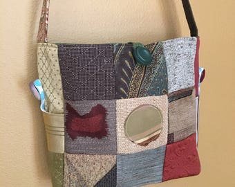 Zoe#1702, New Patchwork Tote, Knitting Project Bag, Knitting Bag, Bags, Tote, Shoulder Purse, Cross Body Purse, Yarn Bag, Med