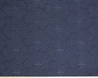 Navy Blue Floral Eyelet Woven Cotton, 1 Yard
