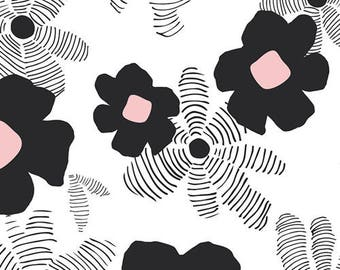 Black White and Pink Floral Jersey Knit, Lagom by Art Gallery Studio Designers, Asphodel in Depth, 1 yard