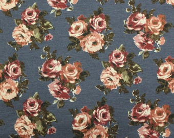 Light Denim Blue Burgundy and Green Floral French Terry Knit Sweatshirt Fabric, 1 Yard