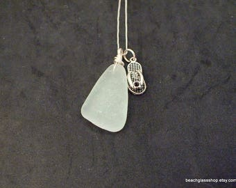 Sterling Sea Glass Necklace - Lake Erie Beach Jewelry - Beach Glass Necklace - Coastal Jewelry - FREE Shipping inside the US