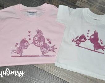 Big Sister Shirt, Little Sister Shirt, Short Sleeve Shirt, Pink Shirt, White Shirt, Little Birdie Shirt