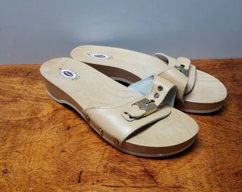 Vintage Dr Scholl Sandals Navy Blue Leather Womens Size 9