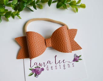 READY TO SHIP, Brown Faux Leather Bow on Nylon Headband or Clip, Newborn, Smash Cake, Toddler, Halloween, Fall Hair Bow, Christmas Hair Bow