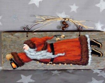 "Flying the Night, Santa Claus on Ozarks barnwood, original hand painted art, 3 3/4"" x 10"""
