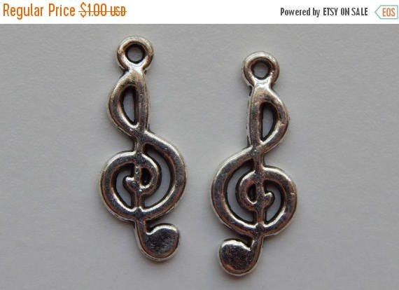 CLOSING SALE 10 Pieces of Metal Jewelry Charms - 26mm Music Note, Treble Clef, Musical Beads, Drops, Double Sided, Silver Color, Base Metal,