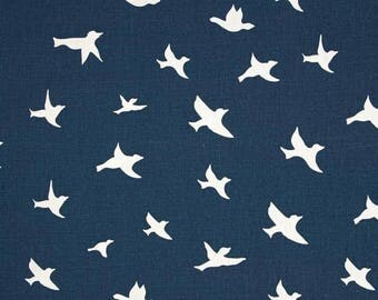 Change pad cover - navy and white bird silhouette nursery decor