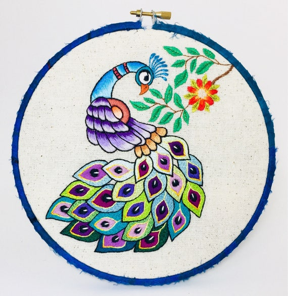 Whimsical Peacock Hand Embroidered Hoop Art, Colorful Wall Art, Hand Embroidered