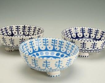 Footed Bowl - Bright Aqua Blue Dessert Bowl, Trinket Holder, Candy Dish, Jewelry Bowl, Ice Cream Parfait Cup Ceramic Pottery Dinnerware