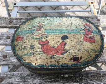 Vintage Antique French Country Beachy Nautical Romantic Blue with Children Cottage Chic Tin