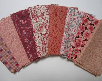 8 Assorted Pinks Mauves Calico Cotton Fabric Scraps Fat Sixteenths Quilting, Sewing