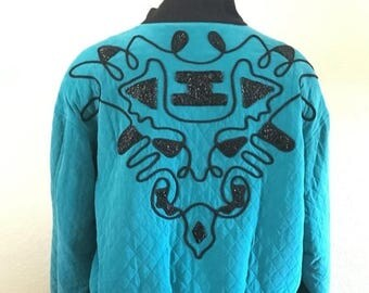 25% OFF SALE Vintage 1980s designer Kansai Yamamoto KBS teal blue quilted black beaded silk bomber windbreaker jacket size S M
