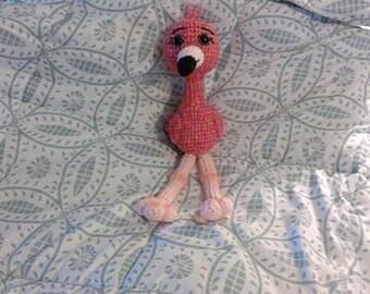 Crochet Stonewash Felicia the Flamingo with sparkle eyes READY TO SHIP