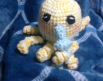 Crochet baby octopus with pacifier ANY colors you want READY to SHIP
