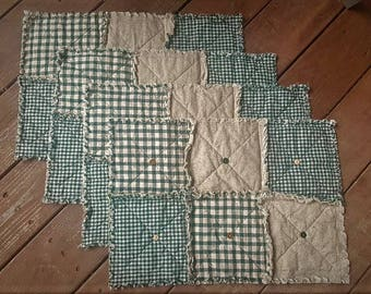 Green Homespun Placemats Set of 4, Country Check Primitive with Buttons, Farmhouse Decor, Rustic Placemats, Handmade in NJ
