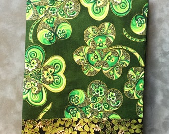 Irish Shamrocks strip pieced Quilted Refillable Journal Notebook