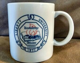 Vintage 1980s Coffee Mug, Liberty University, Ceramic Beverage Cup, School Seal, Falwell, Christian, Religious, Student, Christmas Gift