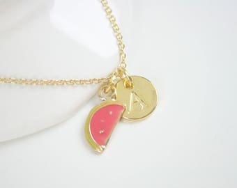 Gold Melon Initial Charm Pendant Necklace And Card One In A Melon As Seen On Jane.com
