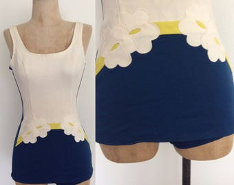 1960's Navy Blue & White Floral Mod Swimsuit Size XS Small by Maeberry Vintage