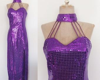 1980's Purple Sequin Evening Gown Burlesque Cocktail Party Floor Length Dress Evening Gown Size Medium by Maeberry Vintage