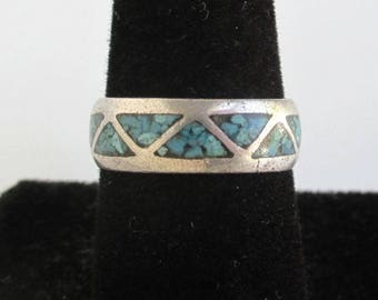 Sterling Silver Turquoise Inlay Band Ring - Vintage Southwestern / Native American, Size 8
