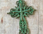 Cross Pewter Filagree Pendant Turquoise Green Patina over Antiqued Gold Bronze