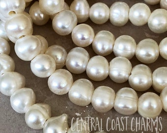 Freshwater Pearl Beads - 7mm / 8mm - Large Hole 2mm - Natural Organic Potato Rice Oblong - Bohemian Beach Ocean Sea - Central Coast Charms