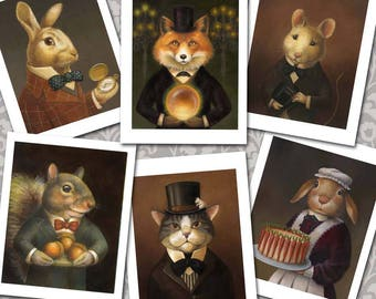 Animal Portrait Notecards - Victorian Animals - Fox Card- Rabbit Card- Squirrel Card- Cat Card- Mouse Card- Anthropomorphic