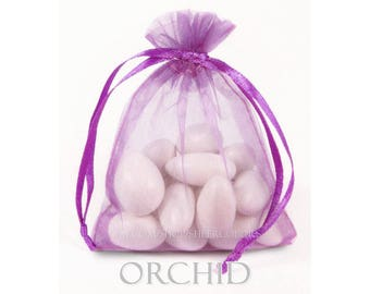 10 Orchid Organza Bags, 5 x 8 Inch Sheer Fabric Gift and Favor Bags