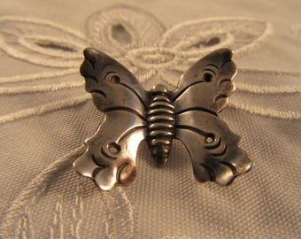 """Vintage Silver """"Hector Aguilar"""" Butterfly Pin"""