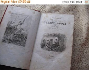 Antique Religious Book on Saint Louis Nordic French Cottage Chic