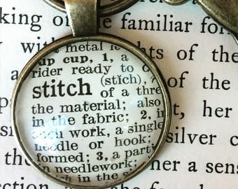STITCH Keychain - Stitch necklace - fiber artist gifts - word art - stitching gifts - gifts for seamstress - stitching necklace - dictionary