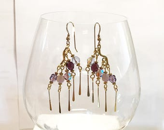 Hook Earrings Five Shades of Purple 6mm Czech Round Crystals Gold Chandelier Findings Gold Spacers Gold Dangles 14K Gold Filled Ear Wires