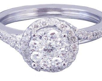 10k White Gold Round Cut Diamond Engagement Ring Art Deco Prong Set Wedding, Bridal, Anniversary, Prong, Natural Diamonds 0.55ctw