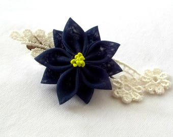 Cute Navy Hair Flower Clip with Lace Kanzashi Barrette