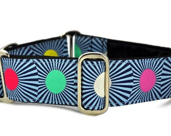 Martingale Dog Collar or Buckle Dog Collar - Circus Lights in Navy - 1.5 Inch
