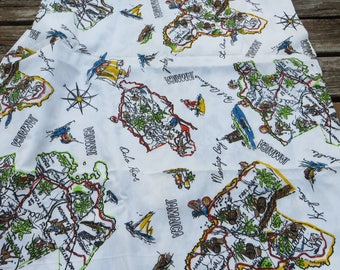 """Jamaican Islands Fabrics Fun Fabric with Map Look Novelty Fabric One Yard Long 44"""" Wide Cotton Fabric with Pirates and Swordfish Maps Castle"""