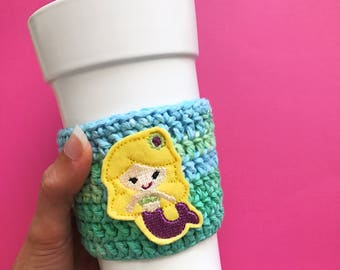 Mermaid coffee cozy / mug sleeve / coffee mug cover / crochet coffee sleeve